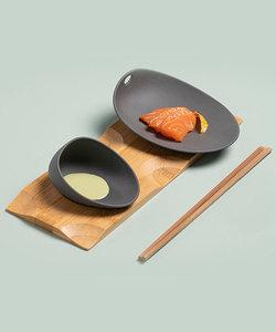Jomon petit plat en porcelaine noire SMALL
