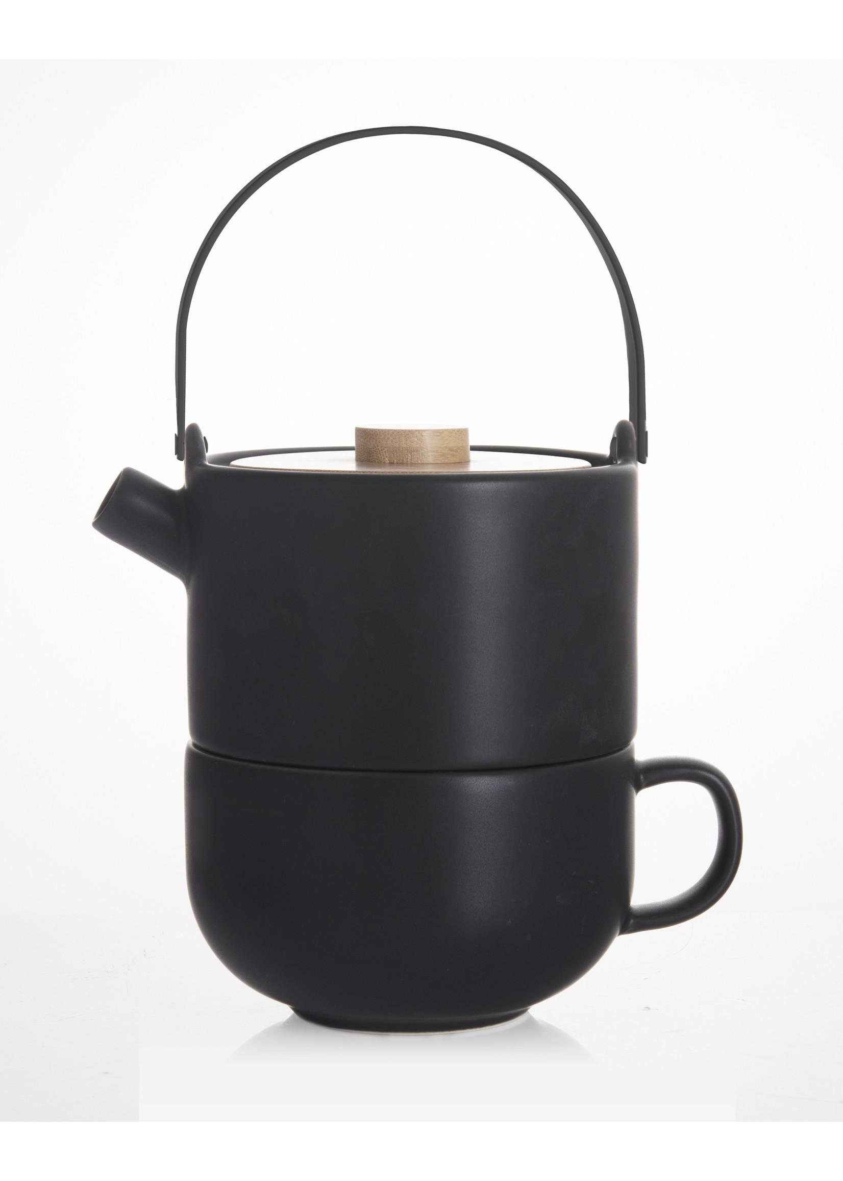 Bredemeijer Bredemeijer Tea for one Umea zwart met bamboedeksel, 500ml