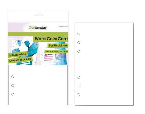 CraftEmotions CraftEmotions WaterColorCard - bril. Ringband wit 10 vl 14,5x20,5cm - 350 gr - 6 Ring A5 (10-20)