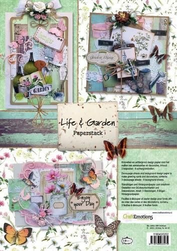 CraftEmotions CraftEmotions Paper stack Life and Garden 11 vel A4