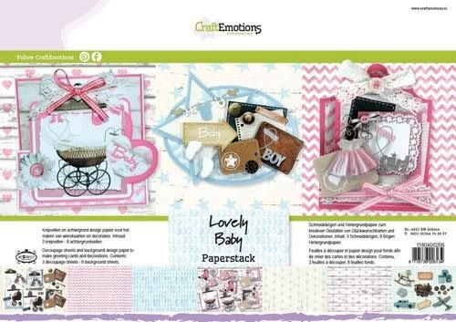 CraftEmotions CraftEmotions Paper stack Lovely Baby 11 vel A4