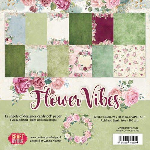 "Craft&You Craft&You Flower Vibes big paper set 12x12"" 12 vel"