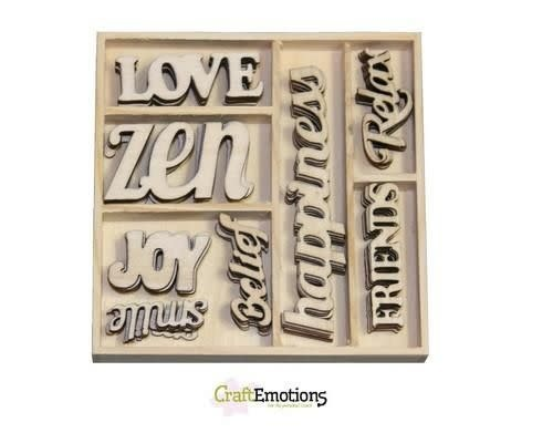 CraftEmotions CraftEmotions Houten ornament Happiness - tekst Happiness