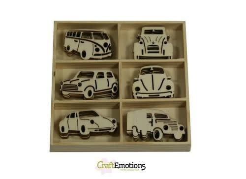CraftEmotions CraftEmotions Houten ornament - klassieke auto's