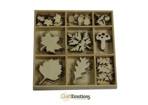 CraftEmotions CraftEmotions Houten ornament - bladeren groot en klein