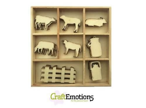 CraftEmotions CraftEmotions Houten ornament - koe