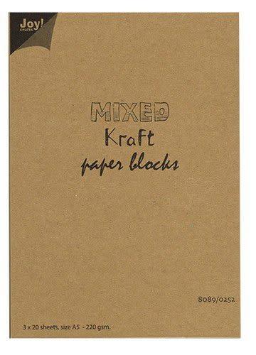 Joy!Crafts Joy! Crafts Mixed Kraft Paperbloc A5 wit,br,zw 3x20vl