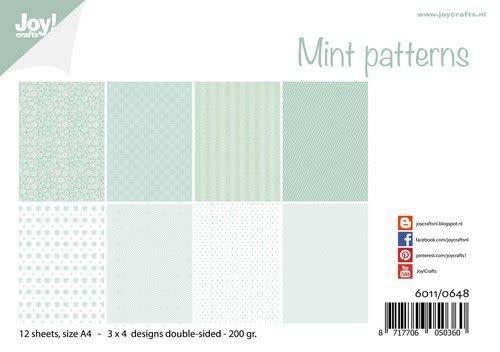 Joy!Crafts Joy! Crafts Papierset - Design - Mint patronen 12vl