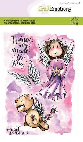CraftEmotions CraftEmotions clearstamps A6 - Angel & Bear 1