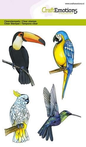 CraftEmotions CraftEmotions clearstamps A6 - tropische vogels