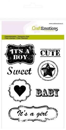 CraftEmotions CraftEmotions clearstamps A6 - vintage baby tekst labels (ENG)