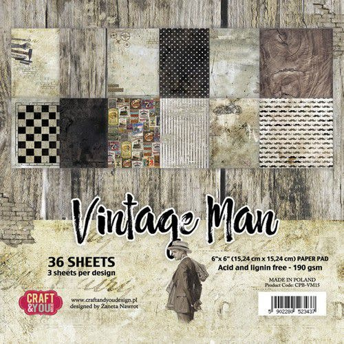 """Craft&You Craft&You Vintage Man Small Paper Pad 6x6"""" 36 vel"""