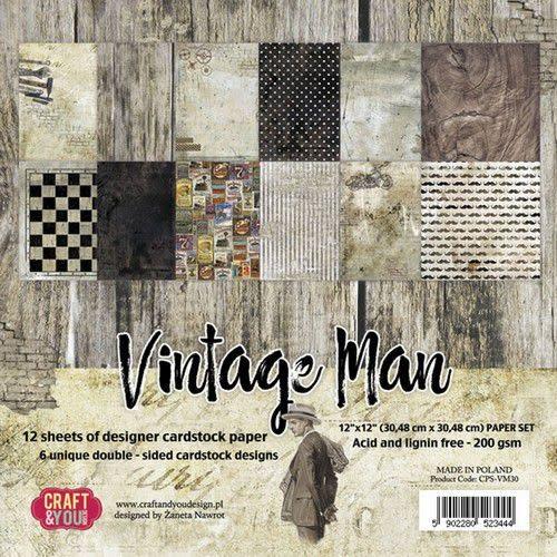 "Craft&You Craft&You Vintage Time Big Paper Set 12x12"" 12 vel"
