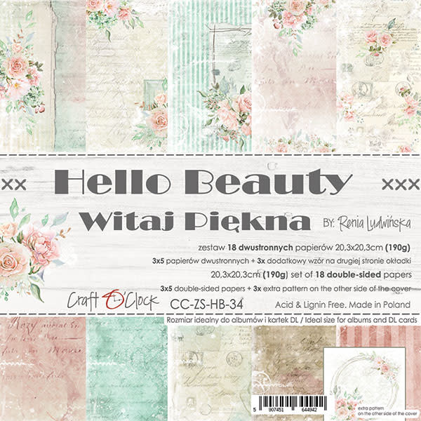 craftoclock hello beauty paperpad 20.3x 20.3