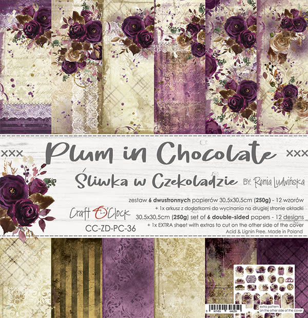 craftoclock Plum in chocolate 30.5x30.5
