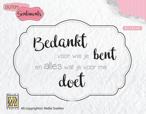 Nellie's choice Nellies Choice Clearstempel Sentiments - Bedankt voor wie (NL)
