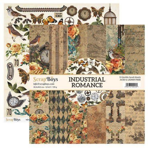 ScrapBoys ScrapBoys Industrial Romance paperset 12 vl+cut out elements-DZ