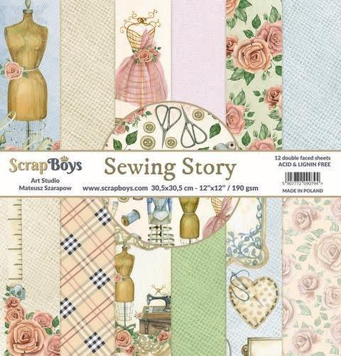 ScrapBoys ScrapBoys Sewing Love paperset 12 vl+cut out elements-DZ