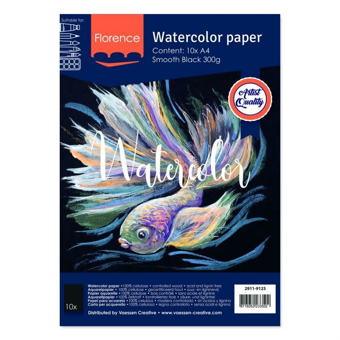 Florence Florence • Aquarelpapier smooth Black A4 10pcs 300g