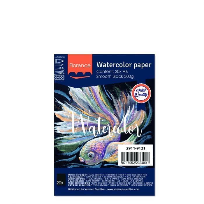 Florence Florence • Aquarelpapier smooth Black A6 20pcs 300g