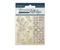 Stamperia Decorative Chips Flowers and Tile (SCB02)