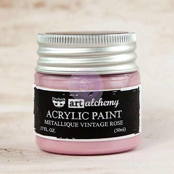 Finnabair Art Alchemy Acrylic Paint Metallique Vintage Rose (963200)