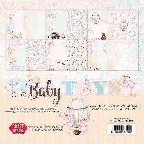 "Craft&You Craft&You Baby Toys Big Paper Set 12x12"" 12 vel"