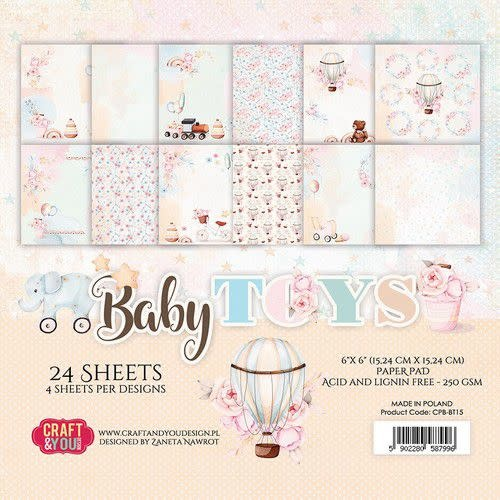 """Craft&You Craft&You Baby Toys Small Paper Pad 6x6"""" 24 vel"""