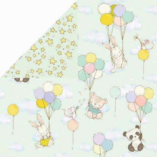 "Craft&You Craft&You Hopping Bunnies Scrapbooking single paper 12""x12"""