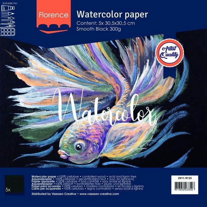 Florence Florence • Aquarelpapier smooth Black 30,5x30,5cm 5pcs 300g