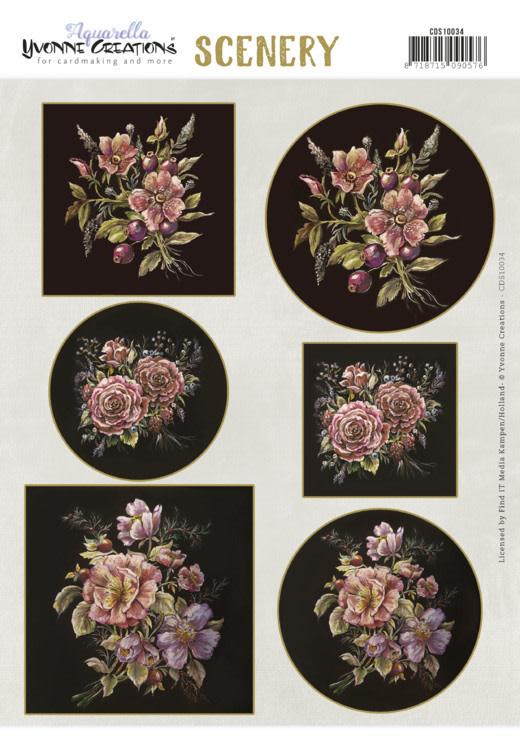 Yvonne creations Scenery - Yvonne Creations - Aquarella - Antique Flowers