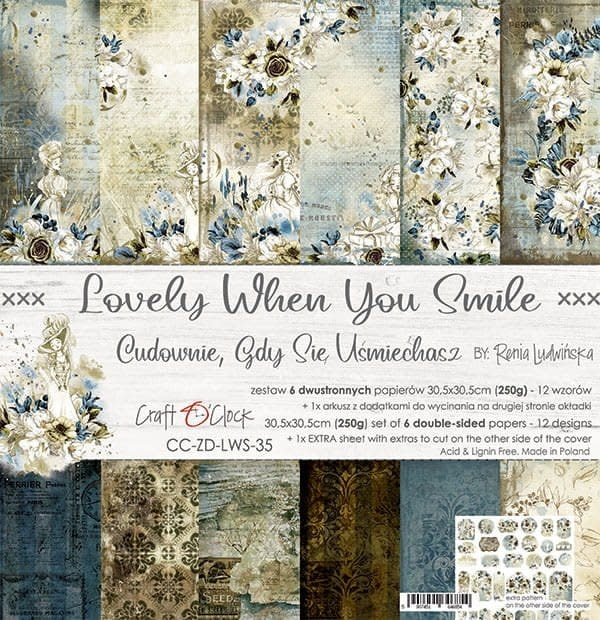 craftoclock LOVELY WHEN YOU SMILE - a set of papers 30,5x30,5cm