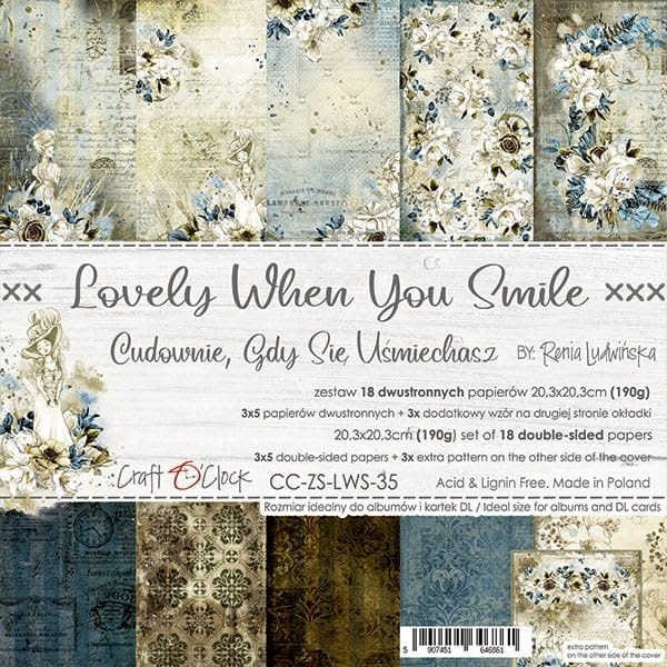 craftoclock LOVELY WHEN YOU SMILE - a set of papers 20,3x20,3cm