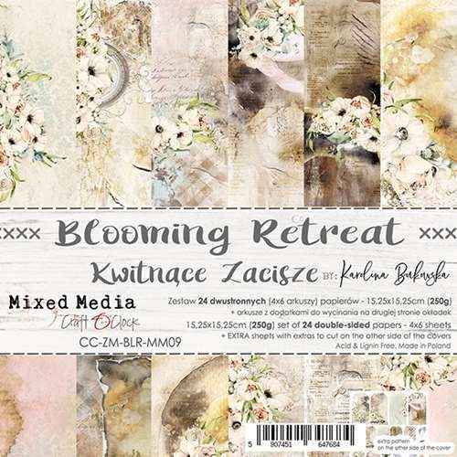 craftoclock BLOOMING RETREAT - a set of papers 15,25x15,25cm