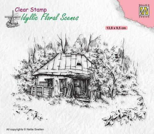 Nellie's choice Nellies Choice clearstamp - Idyllic Floral - Oud huisje