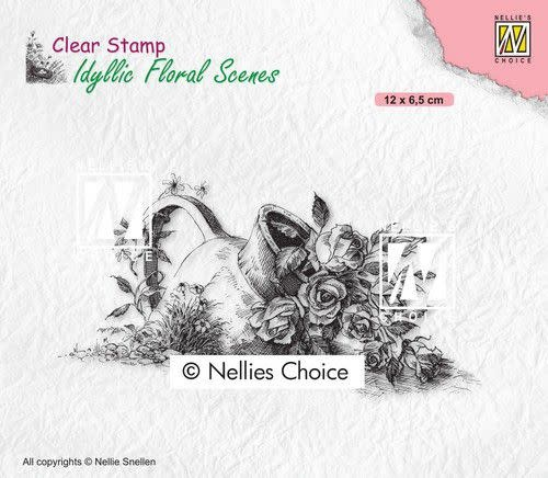 Nellie's choice Nellies Choice clearstamp - Idyllic Floral - Vaas met roos IFS034
