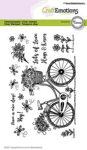CraftEmotions CraftEmotions clearstamps A6 - fiets - Have a nice day