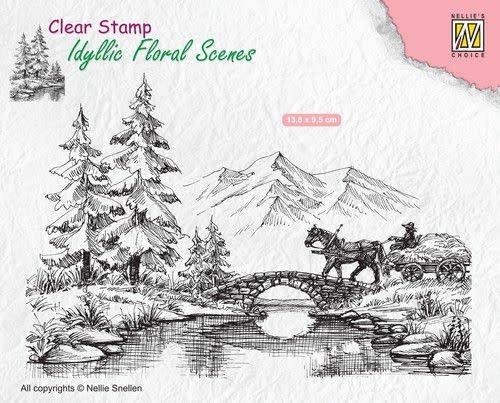Nellie's choice Nellies Choice clearstamp - Idyllic Floral Scenes paard en wagen