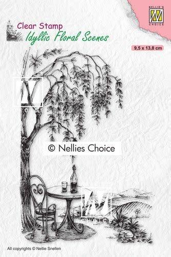 Nellie's choice Nellies Choice clearstamp - Idyllic Floral - Zitplek bij een boom