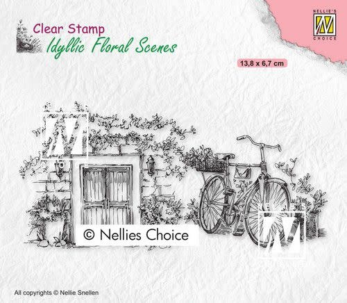 Nellie's choice Nellies Choice clearstamp - Idyllic Floral - Fiets
