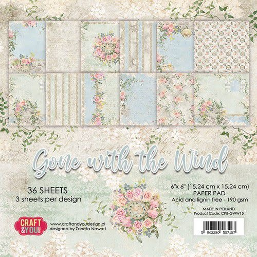 Craft&You Craft&You Gone with the Wind Small Paper Pad 6x6 36 vel