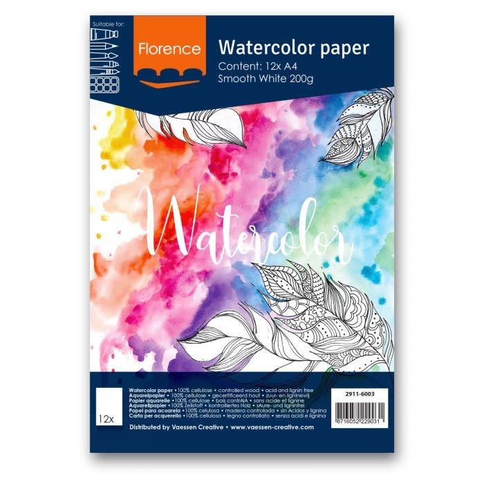 Florence Aquarelpapier A4 smooth White 200gr 12vellen