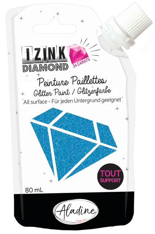 Aladine IZINK Diamond glitterverf/pasta 24 karaat- 80 ml, blauw