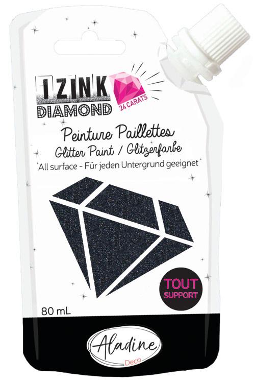 Aladine IZINK Diamond glitterverf/pasta 24 karaat- 80 ml, zwart