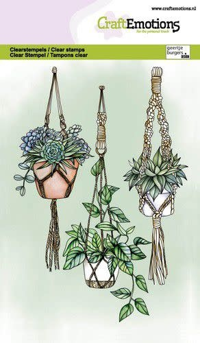 CraftEmotions CraftEmotions clearstamps A6 - Macramé hangplanten