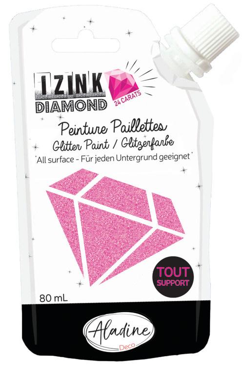 Aladine IZINK Diamond glitterverf/pasta 24 karaat- 80 ml, roze