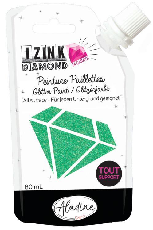 Aladine IZINK Diamond glitterverf/pasta 24 karaat- 80 ml, lichtgroen