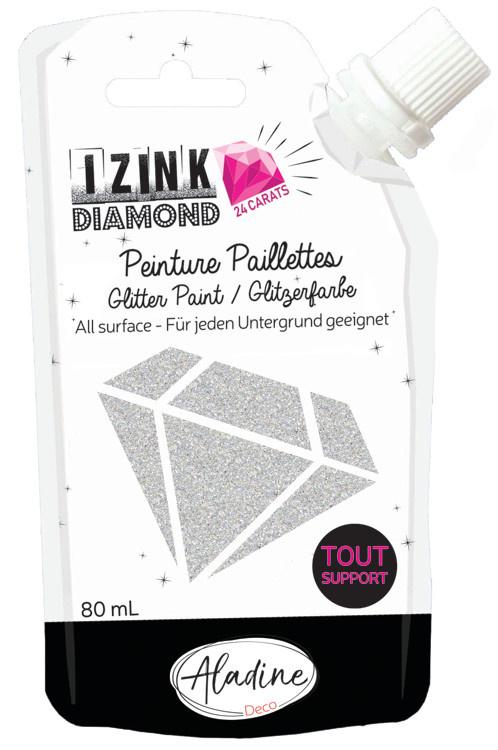 Aladine IZINK Diamond glitterverf/pasta 24 karaat- 80 ml, zilver