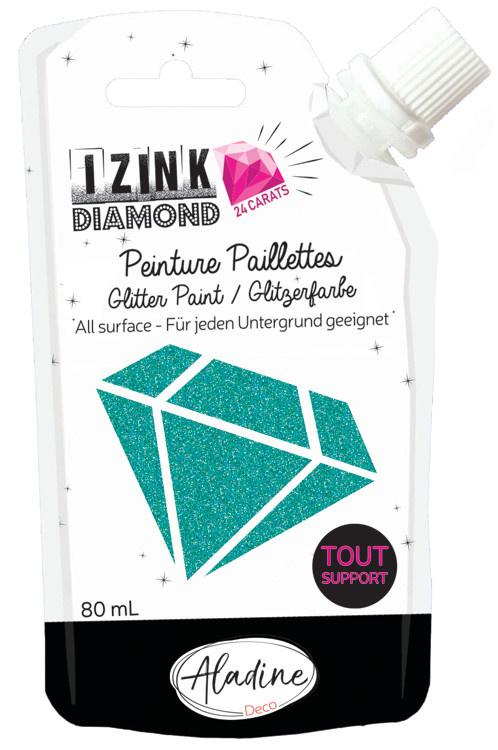Aladine IZINK Diamond glitterverf/pasta 24 karaat- 80 ml, turquoise