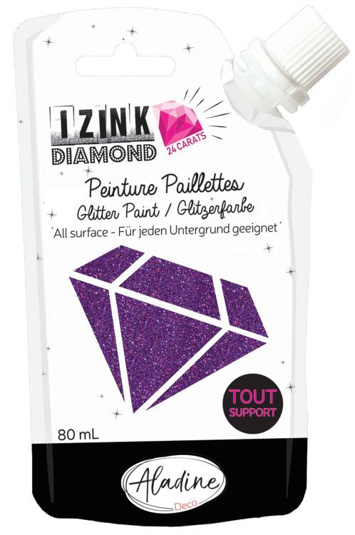 Aladine IZINK Diamond glitterverf/pasta 24 karaat- 80 ml, paars